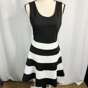 Express medium black white fit flare dress striped